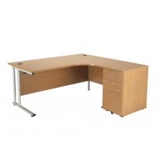 Crescent Workstation with Desk High Pedestal
